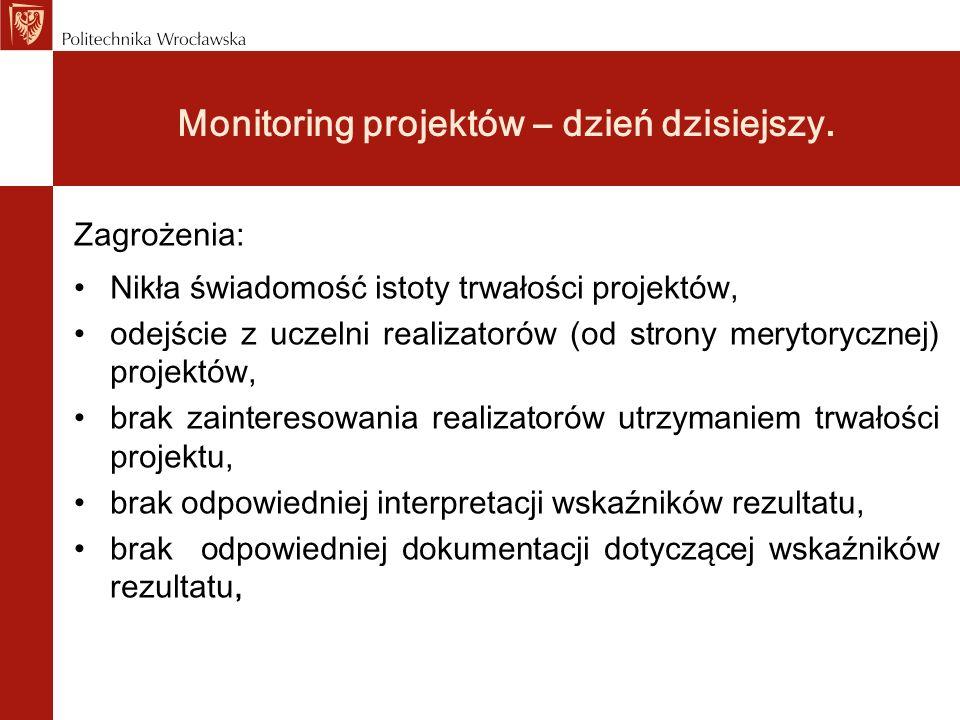 Monitoring projektów - projekty PO KL Zagrożenia: bardzo wysokie wielkości wskaźników – słaba dokumentacja, błędy w rejestracji w systemie PEFS (liczba PESEL-i), brak bieżącej rejestracji realizacji wskaźników, brak pomiaru rezultatów miękkich, brak świadomości wymogu trwałości projektu w ramach PO KL, brak realizacji zakładanego stopnia osiągnięcia założeń merytorycznych – reguła proporcjonalności.
