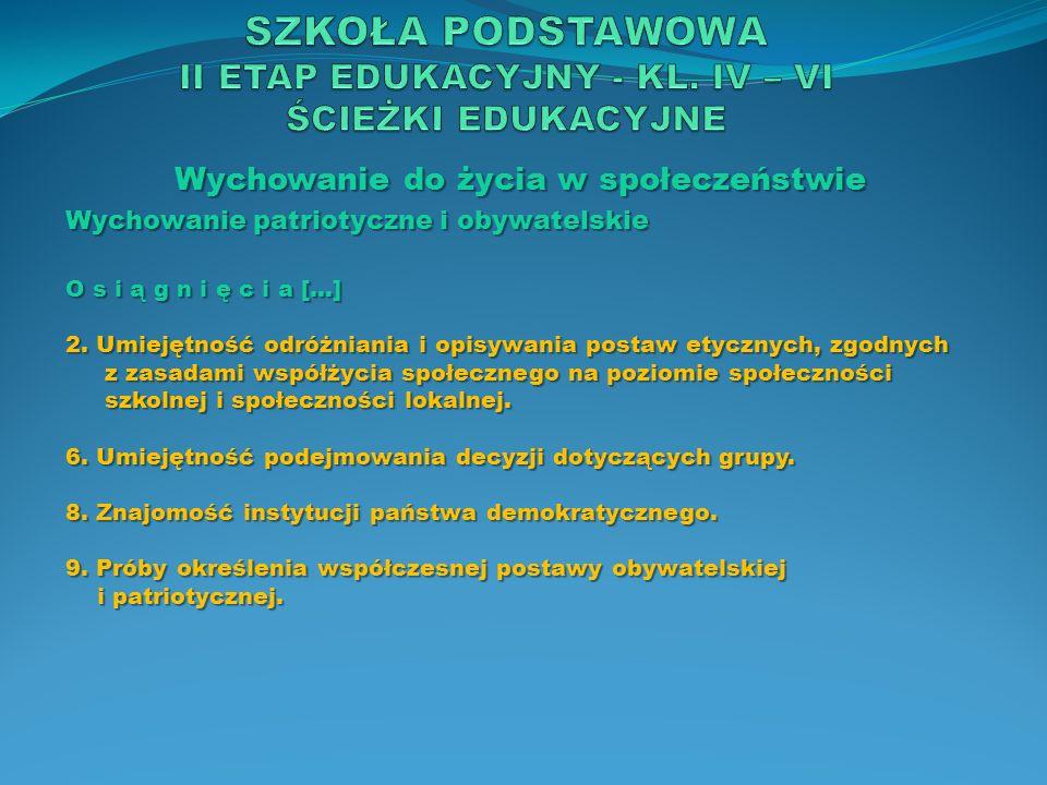 Język polski C e l e e d u k a c y j n e 1) kształcenie sprawności mówienia, słuchania, czytania i pisania w zróżnicowanych sytuacjach komunikacyjnych prywatnych i publicznych, ważnych dla życia w państwie demokratycznym i publicznych, ważnych dla życia w państwie demokratycznym i obywatelskim; rozwijanie zainteresowania uczniów językiem i obywatelskim; rozwijanie zainteresowania uczniów językiem jako składnikiem dziedzictwa kulturowego, jako składnikiem dziedzictwa kulturowego, 3) rozbudzanie motywacji czytania i rozwijanie umiejętności odbioru dzieł literackich i innych tekstów kultury (także audiowizualnych), a przez nie przybliżanie rozumienia człowieka i świata; wprowadzanie w tradycję kultury człowieka i świata; wprowadzanie w tradycję kultury europejskiej i narodowej, […] europejskiej i narodowej, […]