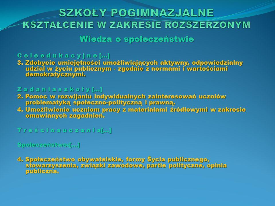 Wiedza o społeczeństwie T r e ś c i n a u c z a n i a[…] Polityka: […] 3.