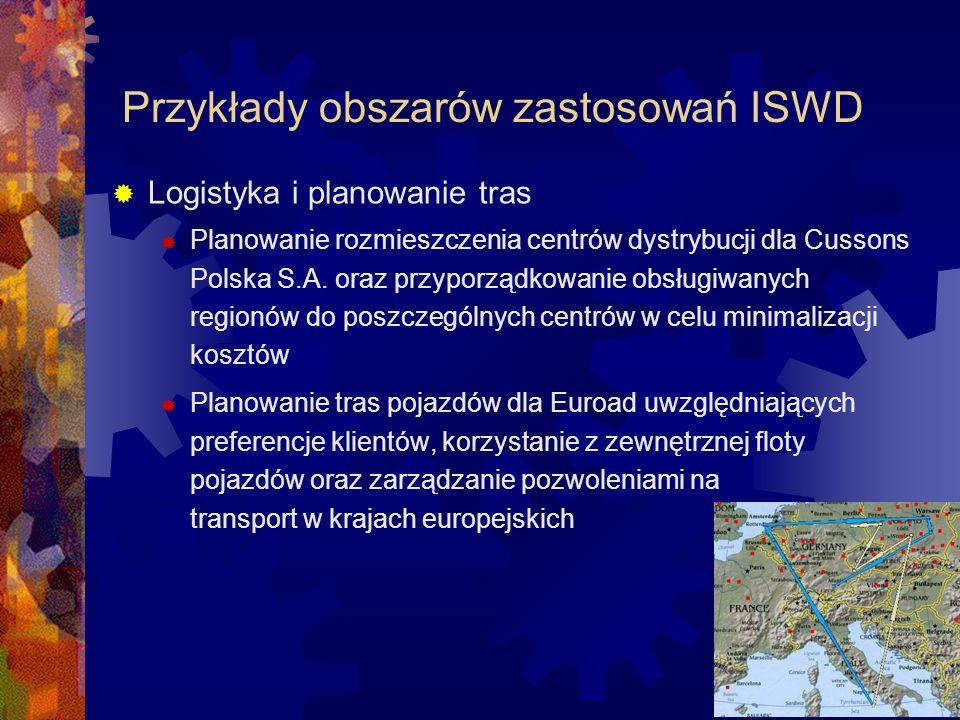Przykłady obszarów zastosowań ISWD Nawigacja satelitarna System NaviExpert służący do planowania tras przejazdu i nawigacji satelitarnej działający na telefonach komórkowych, pozwalający na uwzględnianie dynamicznie zmieniających się warunków drogowych (korki, wypadki, utrudnienia w ruchu, …)
