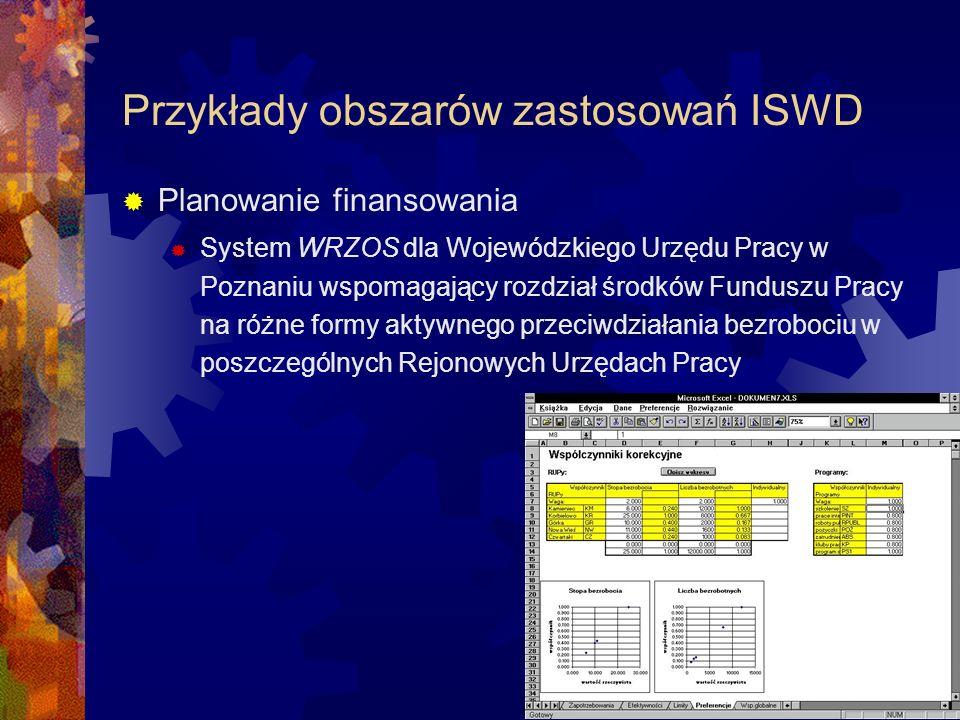 Przykłady obszarów zastosowań ISWD Eksploracja tekstu i zasobów Internetu System Carrot 2 pozwalający na grupowanie wyników i ich hierarchiczną prezentację oraz przystosowany do analizy tekstu w języku polskim