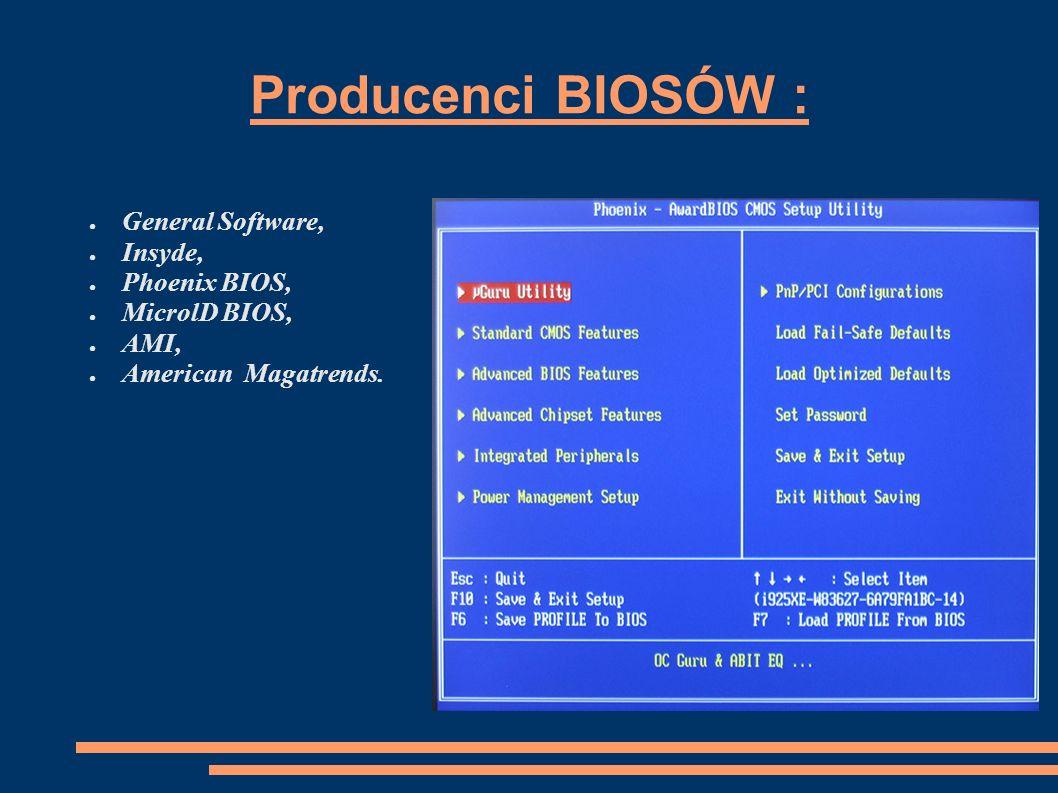 Kombinacje klawiszy umożliwiające wejście do BIOS setup: Acer- F2 lub Ctrl, Alt, Esc, ASUS- Del, Toshiba- Esc, F1, F2, Sony- F3 potem F1 lub F2, NEC- F1 lub F2, Zenit- Ctrl, Alt, Ins.