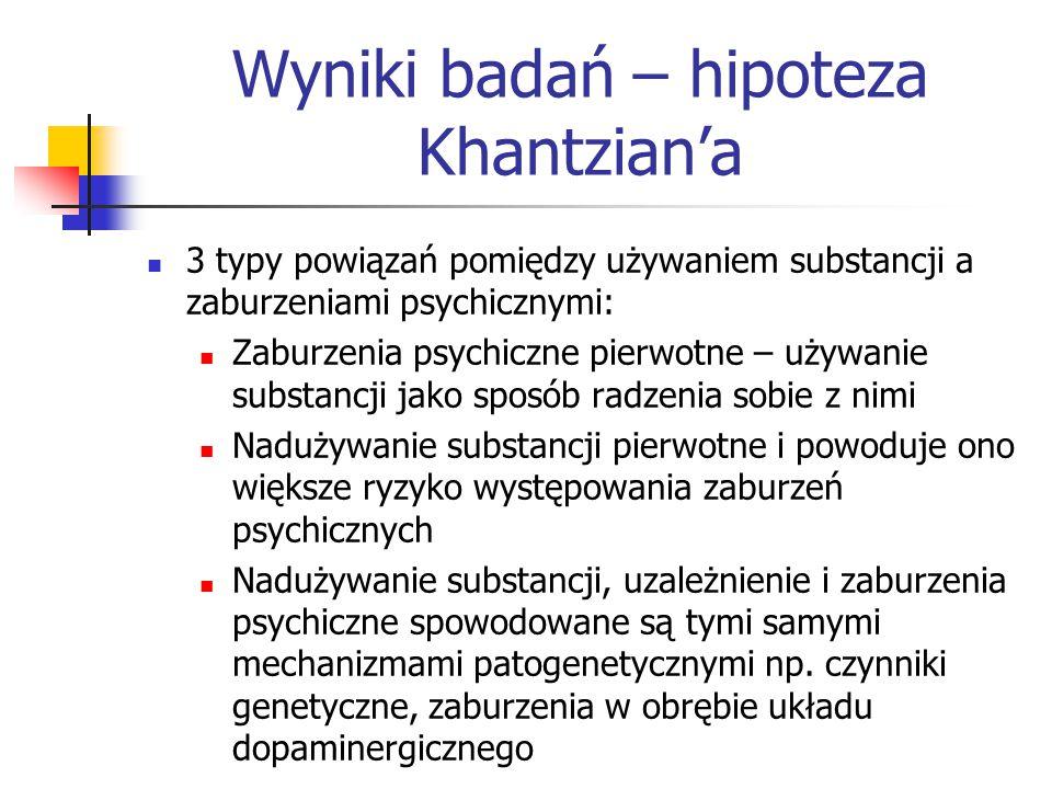 Ocena koncepcji Khantzian'a Badania potwierdziły, że szczególnie wśród kobiet poszukujących leczenia z powodu uzależnienia zaburzenia afektywne i lękowe występują wcześniej niż nadużywanie substancji (Volkow, 2008) Koncepcja Khantziana w istotny sposób przyczyniła się do rozpoznania w obszarze uzależnień problemu,,podwójnej diagnozy .