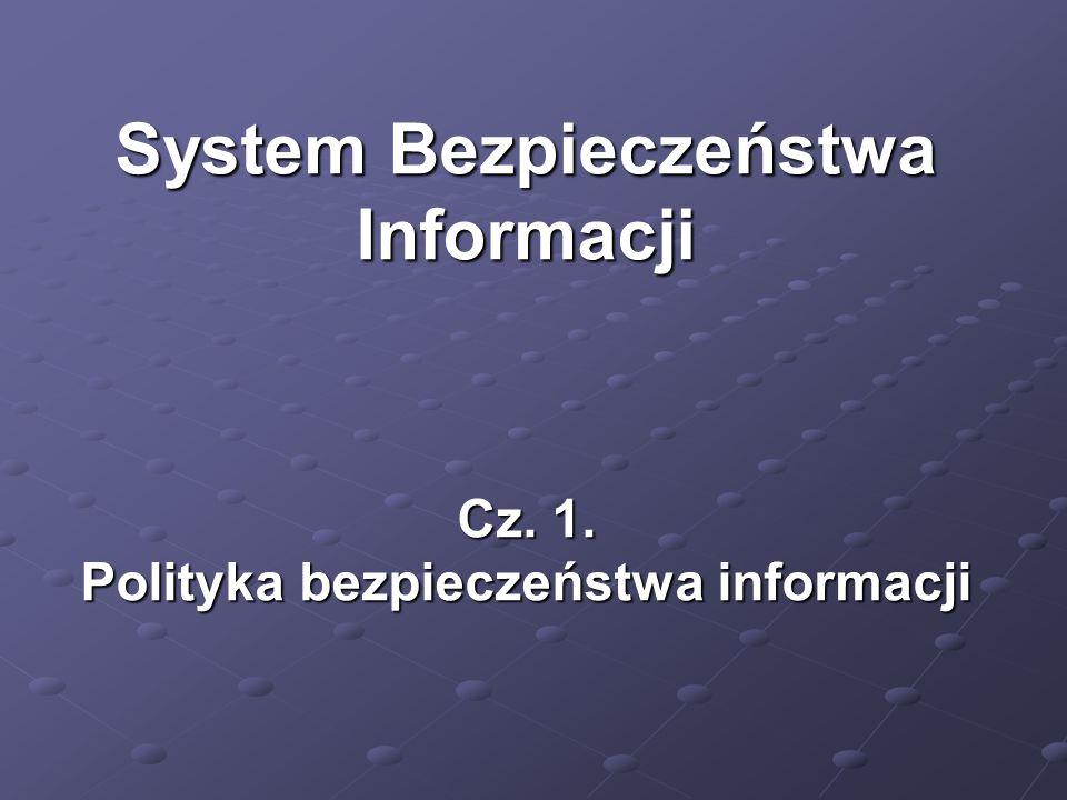 System bezpieczeństwa informacji (SBI) Akty prawne Tworzenie dokumentacji SBI  Polityka Bezpieczeństwa,  Instrukcja Zarządzania Systemem,  Inne (zalecenia, instrukcje, procedury).