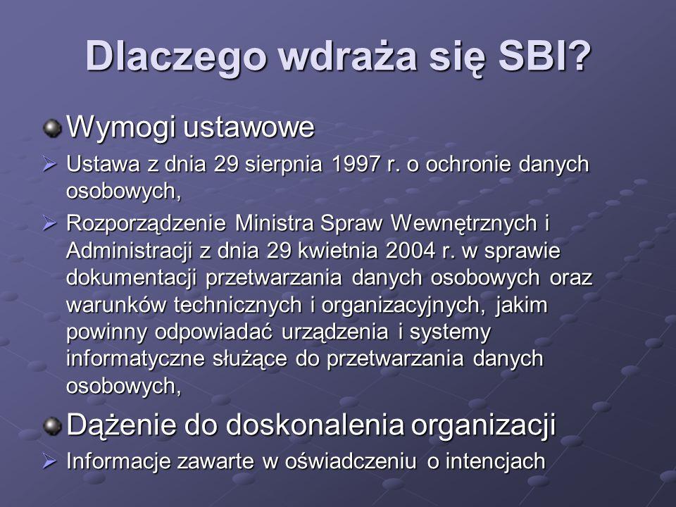 Polityka Bezpieczeństwa Struktury organizacyjne SBI, Oszacowanie ryzyka, Kształcenie w zakresie bezpieczeństwa informacji, Opis obszaru w którym przetwarzane są informacje, Opis przetwarzanych informacji, Opis środków technicznych i organizacyjnych, Audyty SBI.