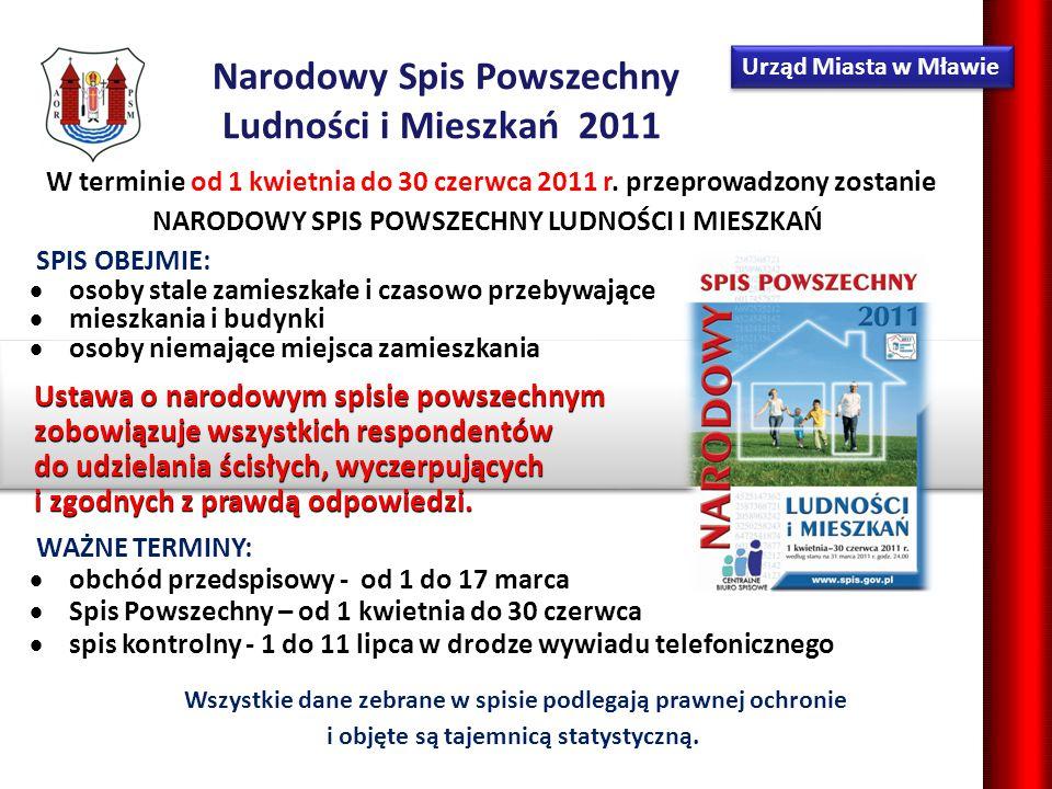 Urząd Miasta w Mławie Narodowy Spis Powszechny Ludności i Mieszkań 2011 Wszystkie dane zebrane w spisie podlegają prawnej ochronie i objęte są tajemnicą statystyczną.
