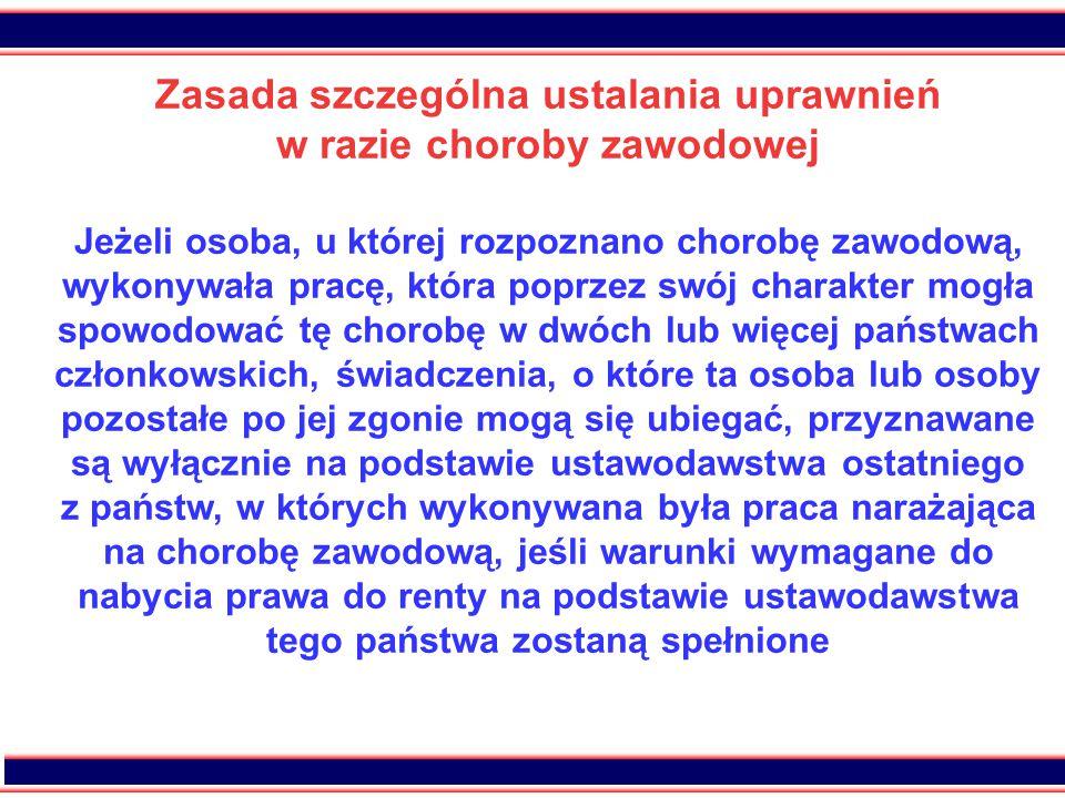 45 Przykład ustalania uprawnień w razie choroby zawodowej Zainteresowany był zatrudniony jako górnik kolejno: - w Polsce przez okres 12 lat, - w Hiszpanii przez okres 2 lat, -w Czechach przez okres 2 lat.