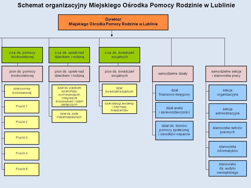 Zadania Ośrodka realizowane są w ramach trzech pionów:  ds.