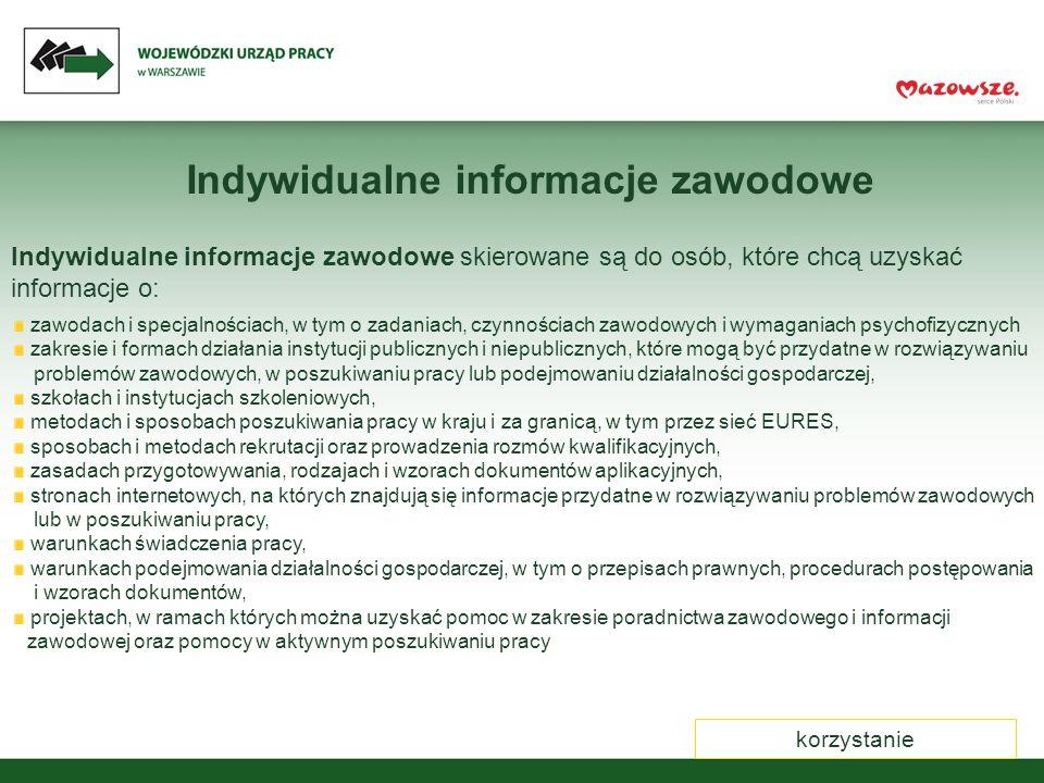 Konsultacje na odległość konsultacje@wup.mazowsze.pl Udzielamy konsultacji i informacji z zakresu: podjęcia decyzji w sprawie wyboru zawodu czy przekwalifikowania przygotowania się do poszukiwania pracy poszukiwania źródeł informacji o zawodach i ścieżkach kształcenia korekty dokumentów aplikacyjnych przygotowywania się do rozmowy kwalifikacyjnej przygotowania się do otwarcia działalności gospodarczej możliwości i obszarów pomocy świadczonej przez publiczne służby zatrudnienia