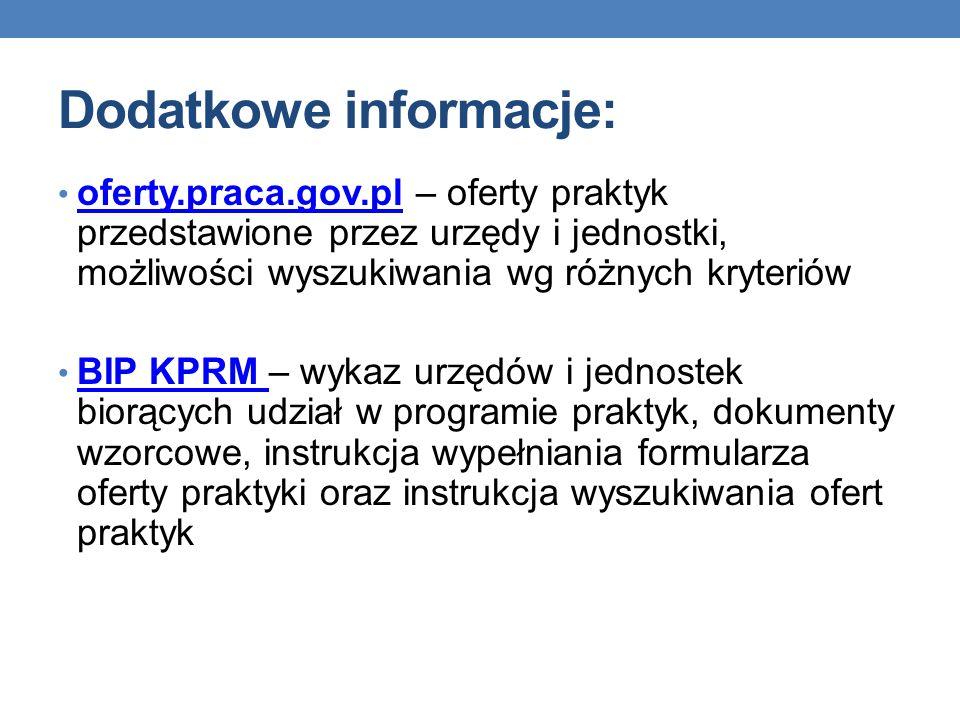 Dodatkowe informacje: Dodatkowe informacje można uzyskać: 1) nadsyłając pytanie na adres mailowy: praktykiRM@kprm.gov.pl praktykiRM@kprm.gov.pl 2) dzwoniąc na numer telefonu: (22) 694 74 69 w godzinach 9.00 – 15.00 w dniach roboczych