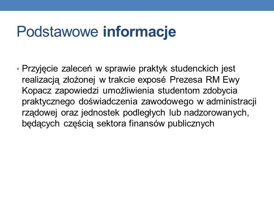 Podstawowe informacje Administracja rządowa przygotuje ponad 16 000 miejsc praktyk dla studentów w ponad 1500 urzędach w całej Polsce Praktyki będą organizowane w urzędach administracji rządowej oraz jednostkach będących częścią sektora finansów publicznych.