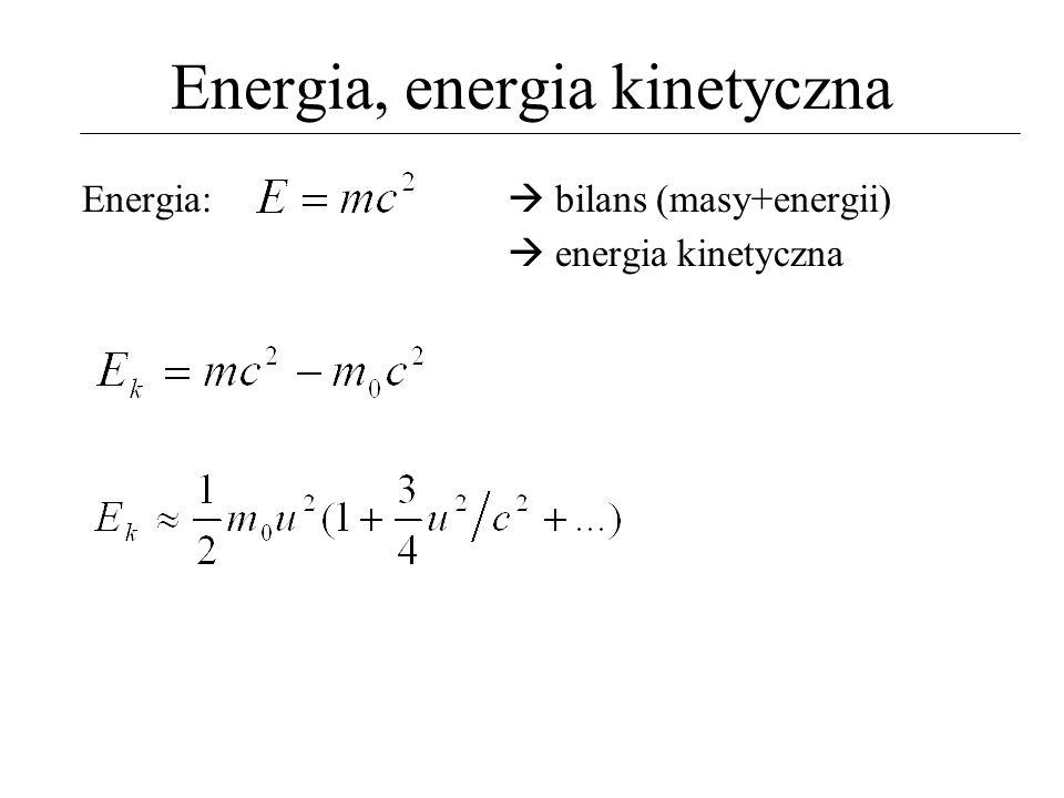 Pęd, prawo Newtona Pęd:, gdzie...aleE k = m 0 u 2 /2 E k = m.