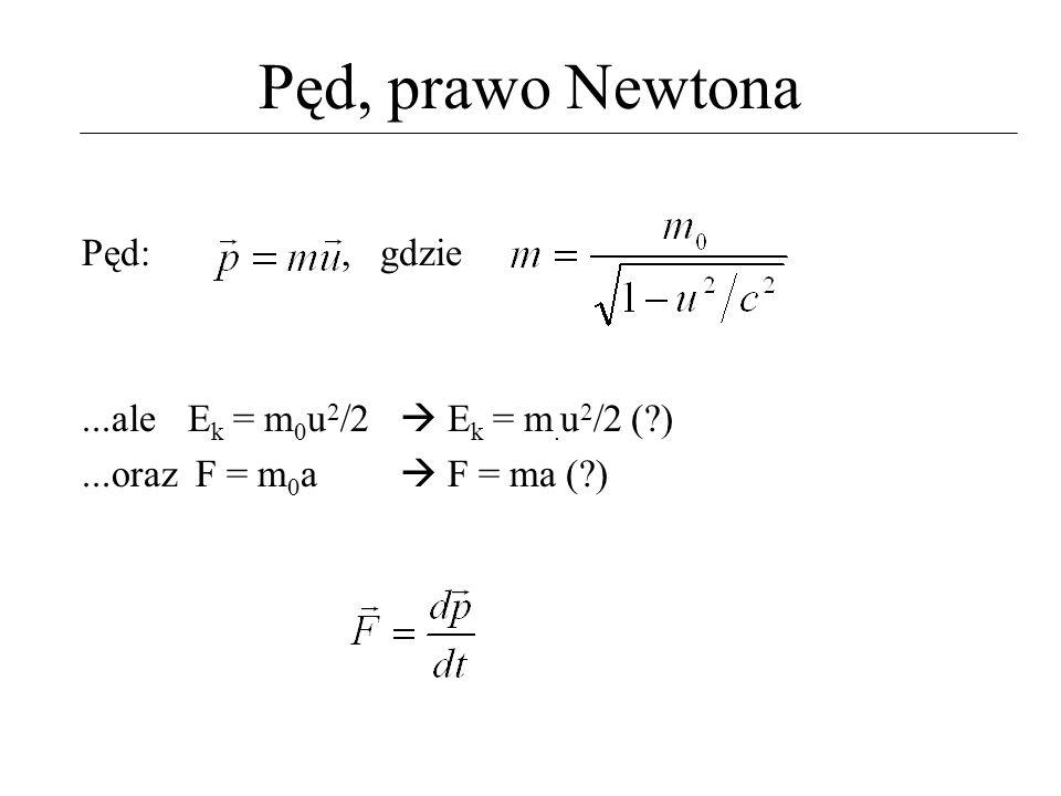 Energia (kinetyczna) i pęd Definicje: energia E to skalar który jest zachowany, pęd p to wektor który jest zachowany Każde równanie ruchu, np.