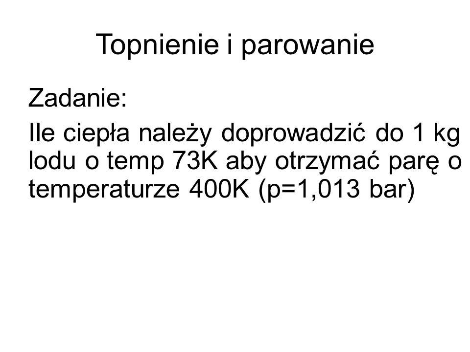 Ciepło topnienia i parowani SubstancjaTopnienieCiepło topnienia/ krzepnięcia Temp wrzenia Ciepło parowania/ kondensacji Ciepło właściwe Stopnie Celcjusza kJ/kg Stopnie Celcjusza kJ/kg kJ/(kg*K) Lód Woda Para 0 333 1002256 2,1 4,19 2 Miedź 108318825954647390 Azot -21025,5-196199?