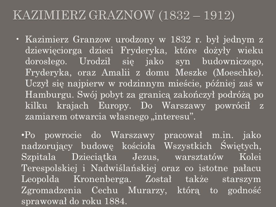 KAZIMIERZ GRAZNOW (1832 – 1912) Kazimierz Granzow zmarł w 1912 roku i został w kaplicy na Cmentarzu Ewangelicko- Augsburskim przy ul.