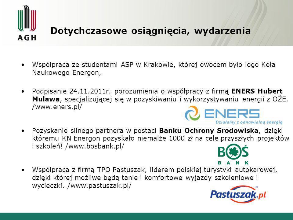 Dotychczasowe osiągnięcia, wydarzenia Pomoc członków Energon-a w organizacji eventu reklamowego Banku Ochrony Środowiska, w wyniku czego zyskano głównego sponsora koszulek promujących Koło Naukowe (drugim sponsorem została firma TPO Pastuszak).