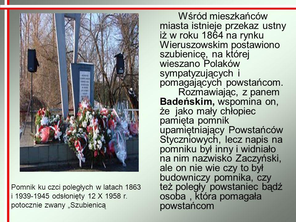 Oddali życie w słusznej sprawie Wojciech Sobolewski Powstaniec styczniowy z oddziału majora Aleksandra Litticha, poległ w bitwie pod Wąsoszem w dniu 23 kwietnia 1863 r.