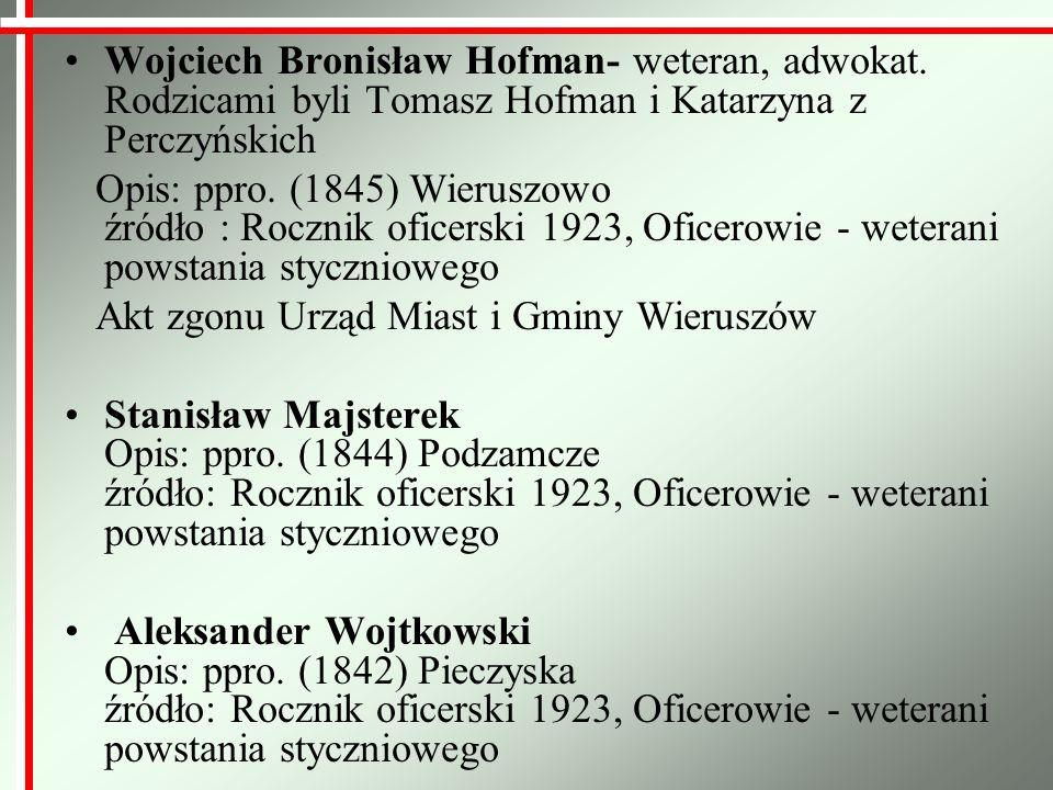 Miejsca upamiętniające weteranów Powstania Styczniowego Teodor Harnisz Powstaniec Styczniowy cmentarz w Wyszanowie Ildefons Kozłowski, weteran Powstania Styczniowego zmarł 3 września 1921 cmentarz w Węglewicach