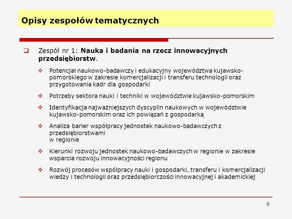 Opisy zespołów tematycznych (c.d.) 7 Zespół nr 2: Innowacyjna gospodarka.