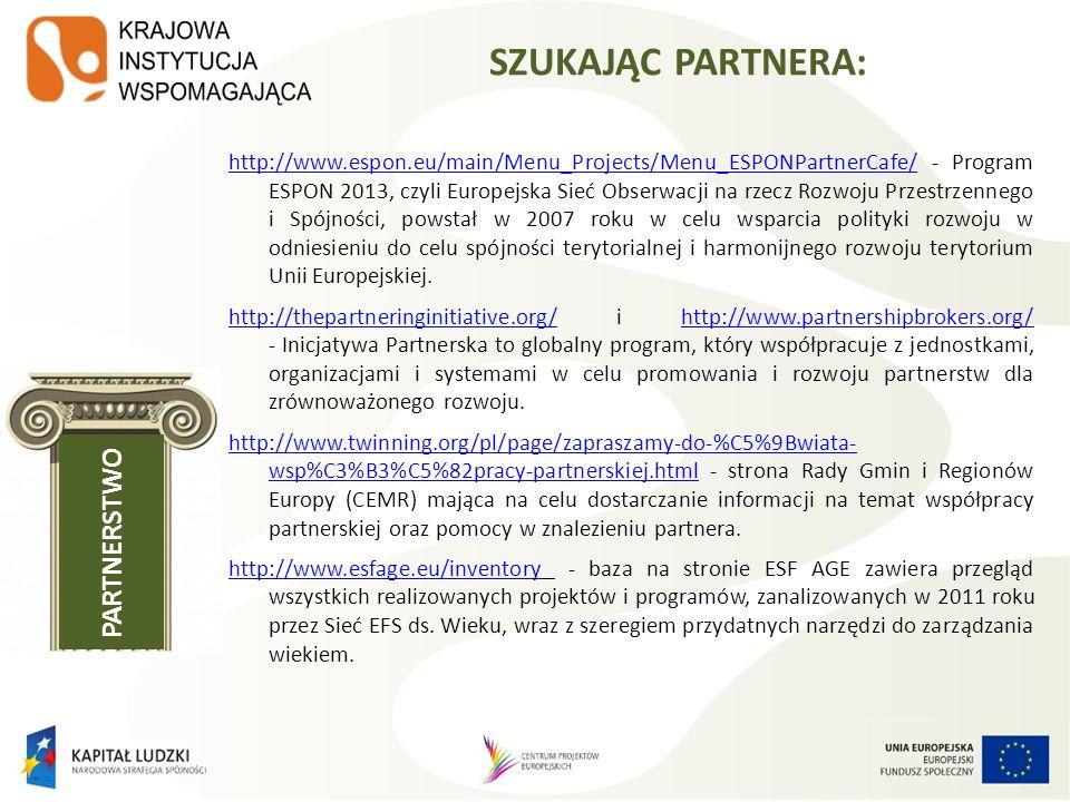 KONKURS NA PARTNERA PONADNARODOWEGO: W przypadku projektów partnerskich realizowanych na podstawie umowy partnerskiej podmiot, o którym mowa w art.