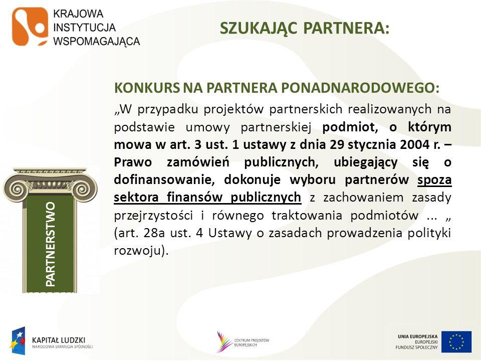 BAZA PROJEKTÓW FISHING POOL Baza projektów, dla których poszukiwani są partnerzy ponadnarodowi z innych krajów oraz z Polski; źródło kontaktów dla polskich projektodawców zainteresowanych realizacją PWP w ramach PO KL Baza opracowana i administrowana jest przez KIW (http://www.kiw- pokl.org.pl/index.php?option=com_sobipro&task=search&sid=147&Itemid =266&lang=en)http://www.kiw- pokl.org.pl/index.php?option=com_sobipro&task=search&sid=147&Itemid =266&lang=en Opisy projektów w formie fiszek projektowych (istniejące projekty lub pomysły projektowe) Zgłoszenie poprzez wypełnienie formularza on-line na stronie KIW (po rejestracji), Wolny dostęp i możliwość przeglądania fiszek bez rejestracji za pomocą wybranych kryteriów lub poprzez tzw.