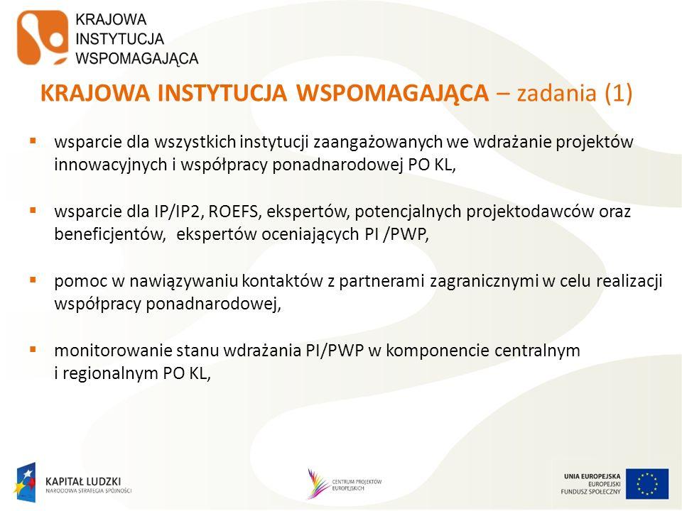 KRAJOWA INSTYTUCJA WSPOMAGAJĄCA – zadania (2) koordynacja 4 Krajowych Sieci Tematycznych w obszarach Zatrudnienia i integracji społecznej, Dobrego rządzenia, Adaptacyjności oraz Edukacji i szkolnictwa wyższego, prowadzenie Sekretariatu Ogólnego RST, monitorującego i wspomagającego prace Regionalnych Sieci Tematycznych, opracowywanie materiałów oraz podręczników dotyczących PI/PWP, prowadzenie serwisu internetowego KIW www.kiw-pokl.org.pl.www.kiw-pokl.org.pl
