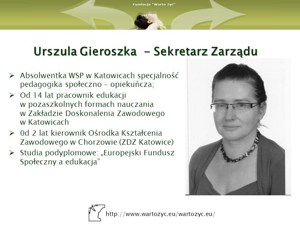 http://www.wartozyc.eu/wartozyc.eu/ Bogusława Seweryn – Przewodnicząca Rady Pracownik działu organizacyjno – prawnego w Szpitalu Powiatowym w Zawierciu.