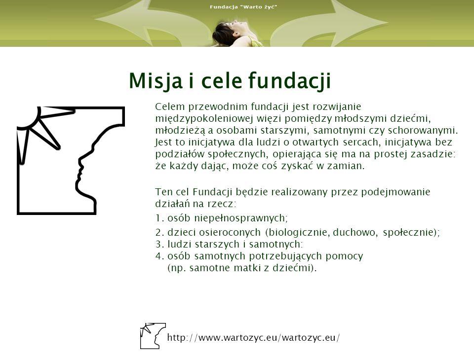 http://www.wartozyc.eu/wartozyc.eu/ Idea i geneza Fundacji Warto żyć Obecne zmiany w sferze społeczno – gospodarczej tworzą duże obszary wykluczenia społecznego wśród rodzin i osób o niskim poziomie życia i dochodów.