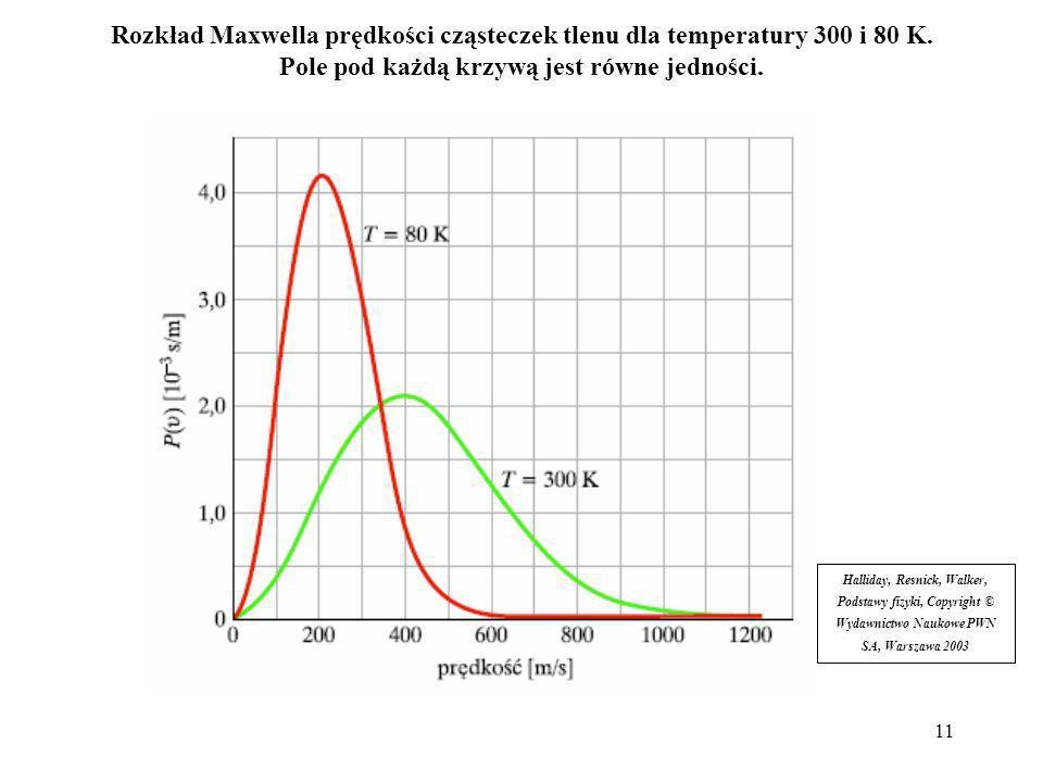12 Prędkość średnia: Prędkość średnia kwadratowa: Prędkość najbardziej prawdopodobna to ta, dla której funkcja P(v) osiąga maksimum: