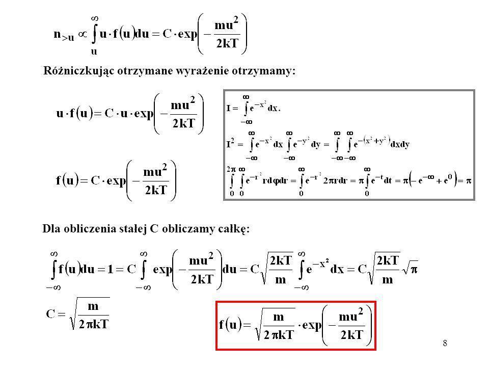 9 Otrzymany rozkład prędkości, zapisany w dwóch alternatywnych postaciach: Rozkład trójwymiarowy będzie zawierał rozkłady jednowymiarowe: jest rozkładem jednowymiarowym.