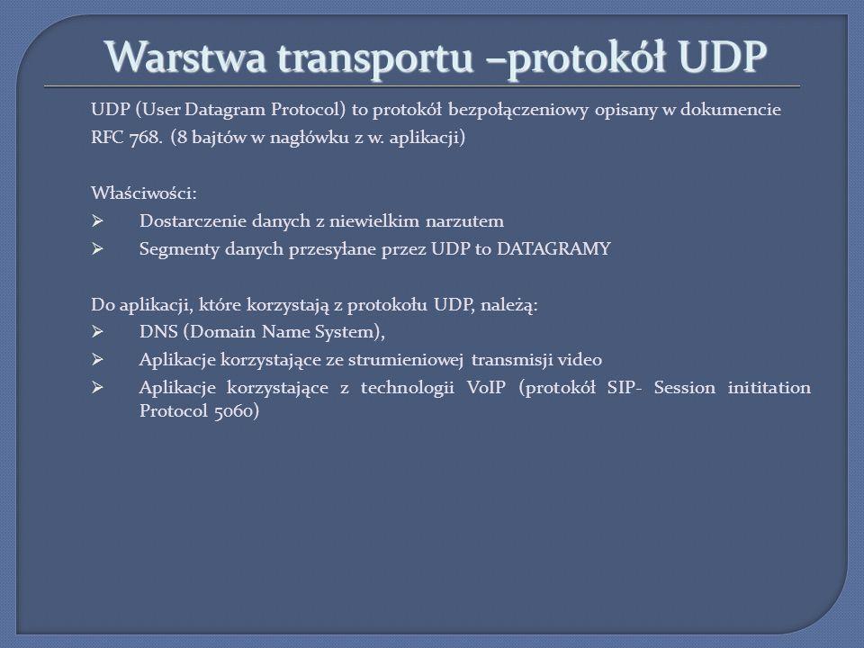 Warstwa transportu –protokół TCP TCP (Transmission Control Protocol) to protokół połączeniowy opisany w dokumencie RFC 793.