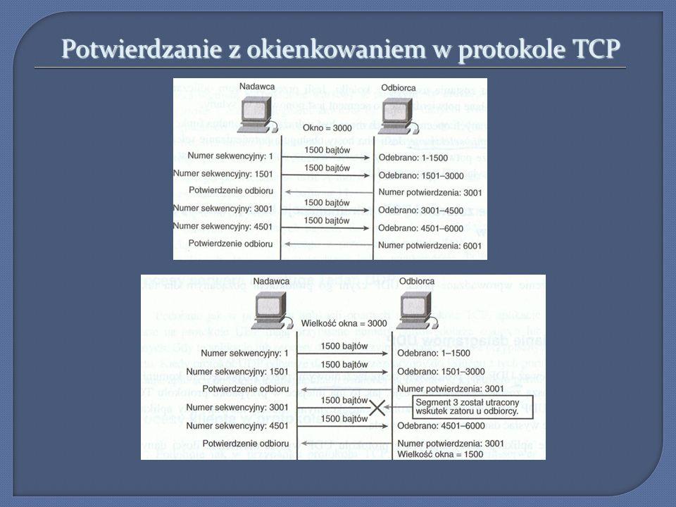 Warstwa transportu –protokół TCP Kończenie sesji w protokole TCP (4 wymiany): 1.