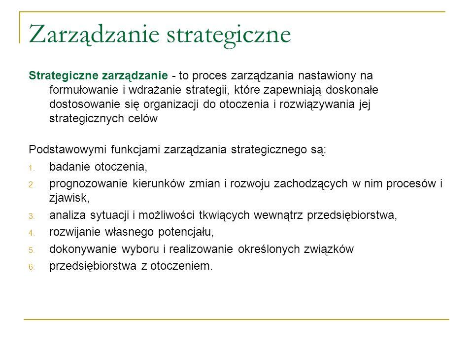 Elementy zarządzania strategicznego: 1.