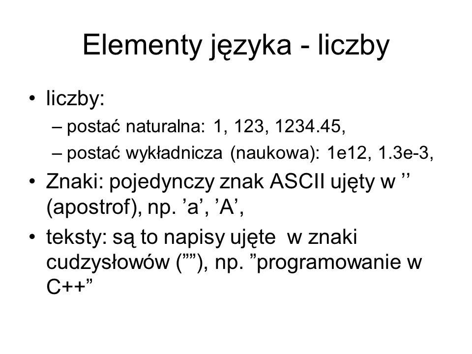 Elementy języka - komentarze komentarze - elementy programu oznaczone znakiem(ami): –/*….*/ - komentarz kilkuwierszowy (z języka C), –//…..