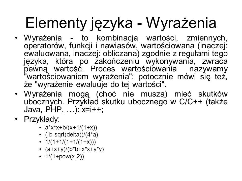 Elementy języka – pozostałe elementy Słowa kluczowe - wyrazy języka, które nie mogą być inaczej, niż to jest przewidziane, być wykorzystane, typy danych - określenie rodzaju danych, instrukcje - umożliwiają wykonanie określonych operacji, procedury, funkcje - grupują instrukcje, biblioteki - grupują procedury i funkcje