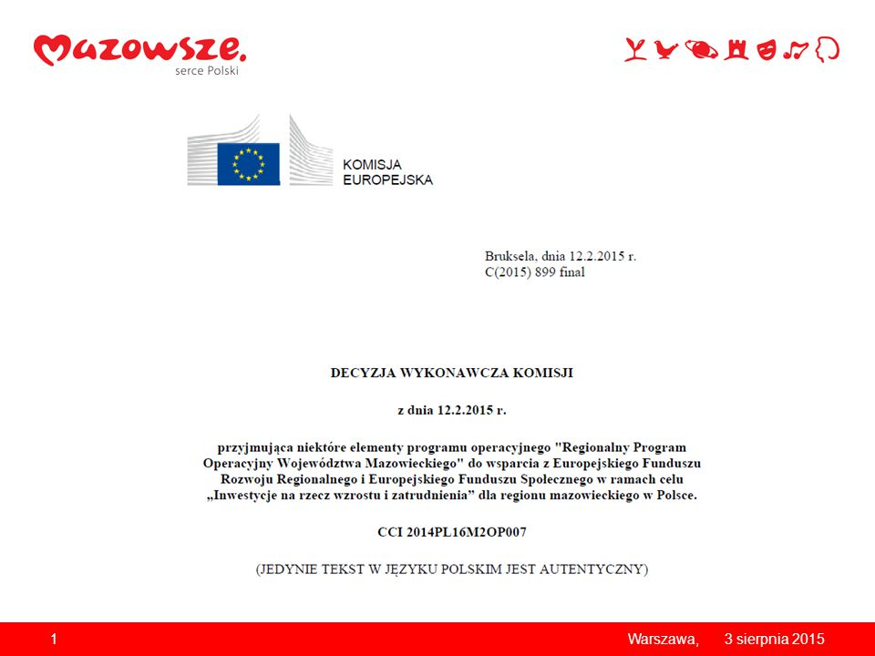 Podział alokacji dla Mazowsza Kraj/Region 2 Kraj (Programy Krajowe) Region (RPO WM 2014-2020) Fundusz mln EUR% % suma EFRR 1 090,6541%1 544,6959%2 635,34 EFS 568,6651% 545,1549%1 113,81 suma 1 659,31 2 089,84 3 749,15 Alokacja ZIT : 165 mln EUR Alokacja RIT: 130 mln EUR