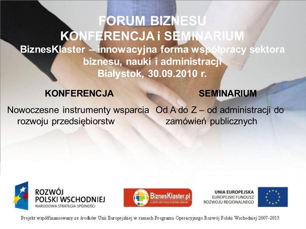 Od konkurencji do współpracy na przykładzie Wschodniego Klastra Informatycznego Jerzy Wawro, Wschodni Klaster Informatyczny Białystok, 30 września 2010.