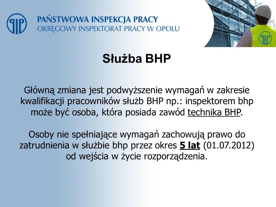 Do zakresu działania służby bhp należy m.in.: 1.