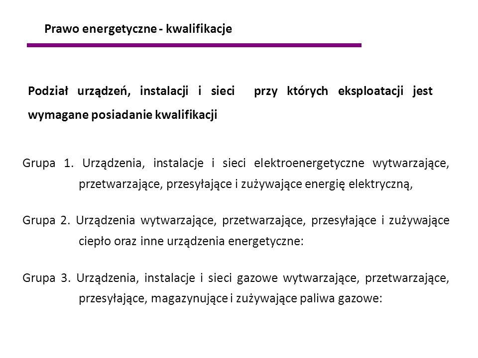 1.Urządzenia prądotwórcze przyłączone do krajowej sieci elektroenergetycznej bez względu na wysokość napięcia 2.Urządzenia, instalacje i sieci o napięciu nie wyższym niż 1kV 3.Urządzenia, instalacje i sieci o napięciu znamionowym powyżej niż 1kV 4.Zespoły prądotwórcze o mocy powyżej 50 kW 5.Urządzenia elektrotermiczne 6.Urządzenia do elektrolizy 7.Sieci elektrycznego oświetlenia ulicznego 8.Elektryczna sieć trakcyjna 9.Elektryczne urządzenia w wykonaniu przeciwwybuchowym 10.Aparatura kontrolno-pomiarowa oraz urządzenia, instalacje automatycznej regulacji; sterowania i zabezpieczeń urządzeń i instalacji wyżej wymienionych 11.Urządzenia techniki wojskowej 12.Urządzenia ratowniczo-gaśnicze i ochrony granic Grupa I - urządzenia elektroenergetyczne: