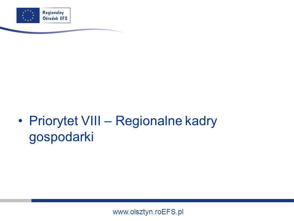 www.olsztyn.roEFS.pl Typy projektów: -Szkolenia ogólne i specjalistyczne oraz doradztwo dla kadr zarządzających i pracowników przedsiębiorstw w zakresie zarządzania, organizacji pracy, zarządzania BHP, wdrażania technologii produkcyjnych przyjaznych środowisku itp.