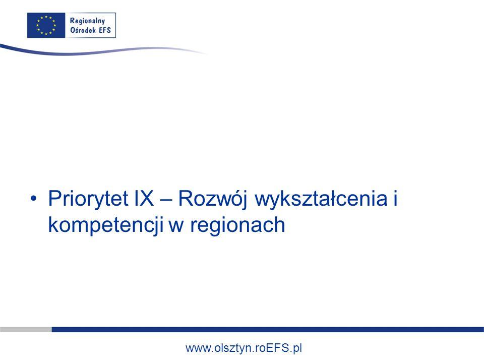 www.olsztyn.roEFS.pl Typ projektów: Tworzenie przedszkoli (w tym również uruchamianie innych form wychowania przedszkolnego) na obszarach i w środowiskach o niskim stopniu upowszechnienia edukacji przedszkolnej (w szczególności na obszarach wiejskich).