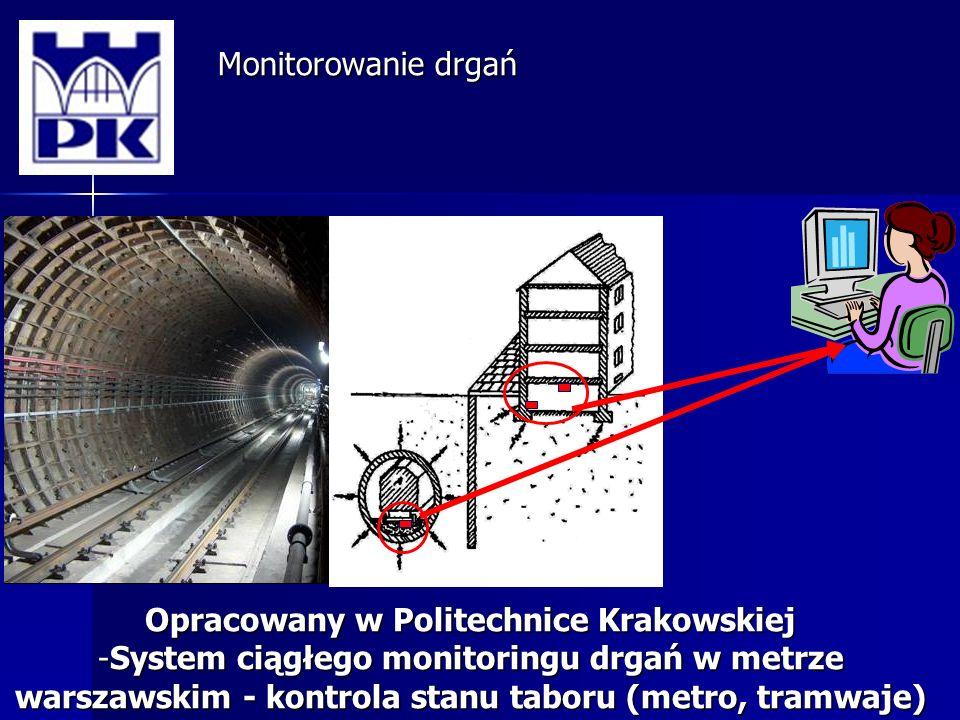 Monitorowanie drgań Opracowany w Politechnice Krakowskiej -System ciągłego monitoringu drgań w metrze warszawskim - kontrola stanu taboru (metro, tramwaje)
