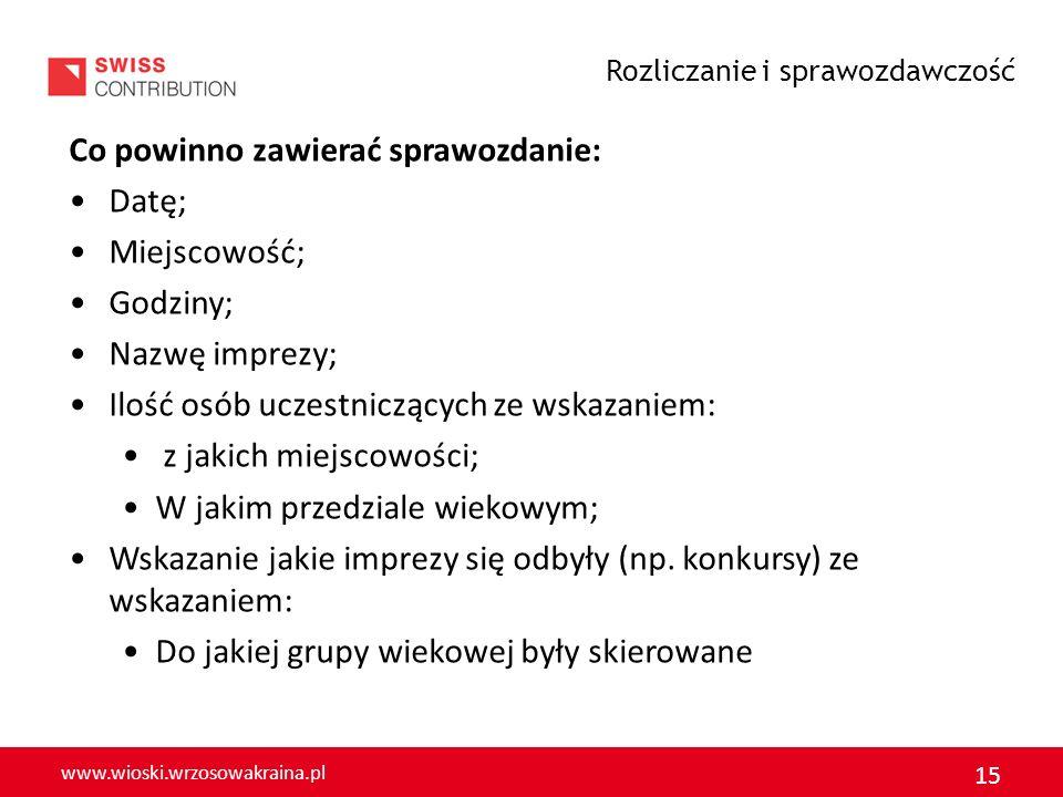 www.wioski.wrzosowakraina.pl 16 Ponadto sprawozdanie powinno zawierać informację: Dotyczącą dodatkowych informacji: Zestawienia środków finansowych z FS zgodnie z załącznikiem zawierającym szczegółowe informacje: Numer faktury; Przedmiot zakupu; Kwota wydatkowana.