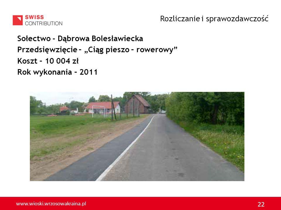 www.wioski.wrzosowakraina.pl 23 Sołectwo – Krępnica Przedsięwzięcie – Budowa chodnika Koszt – 5 532 zł Rok realizacji – 2011 Rozliczanie i sprawozdawczość