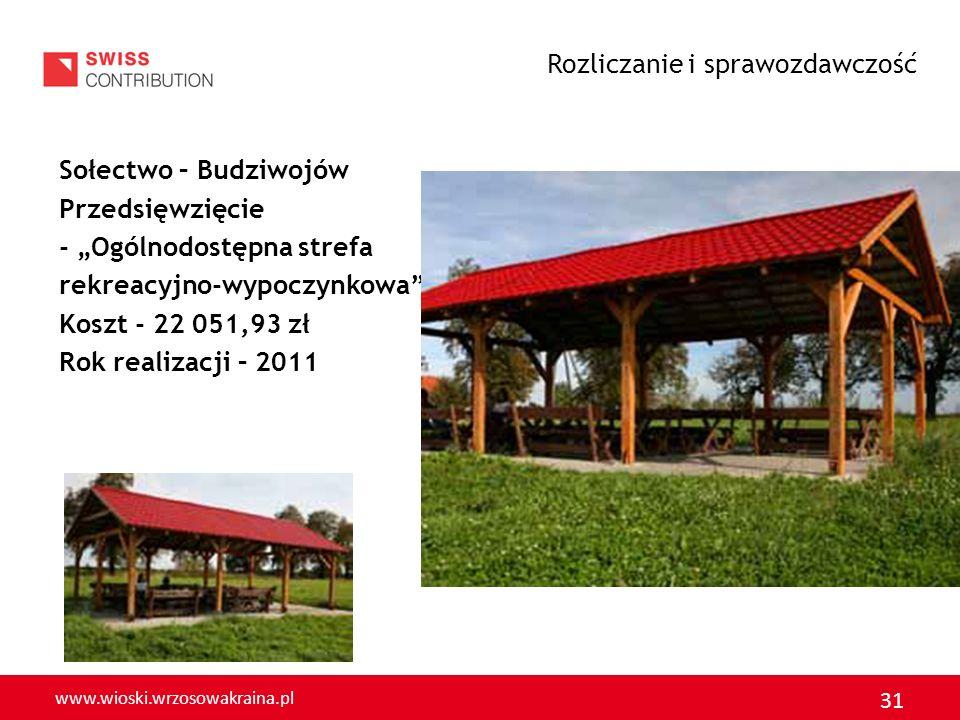 www.wioski.wrzosowakraina.pl 32 Sołectwo - Gołaczów Przedsięwzięcie - Oczyszczenie i remont zbiornika p.poż Koszt - 16 971,66 zł Rok realizacji – 2011 Rozliczanie i sprawozdawczość
