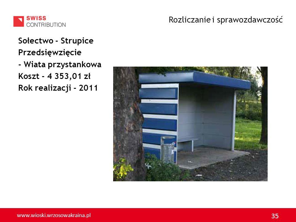 www.wioski.wrzosowakraina.pl 36 Sołectwo - Michów Przedsięwzięcie - Remont gminnej drogi o nawierzchni asfaltowej Koszt - 7 178,38 zł Rok realizacji -2011 Rozliczanie i sprawozdawczość