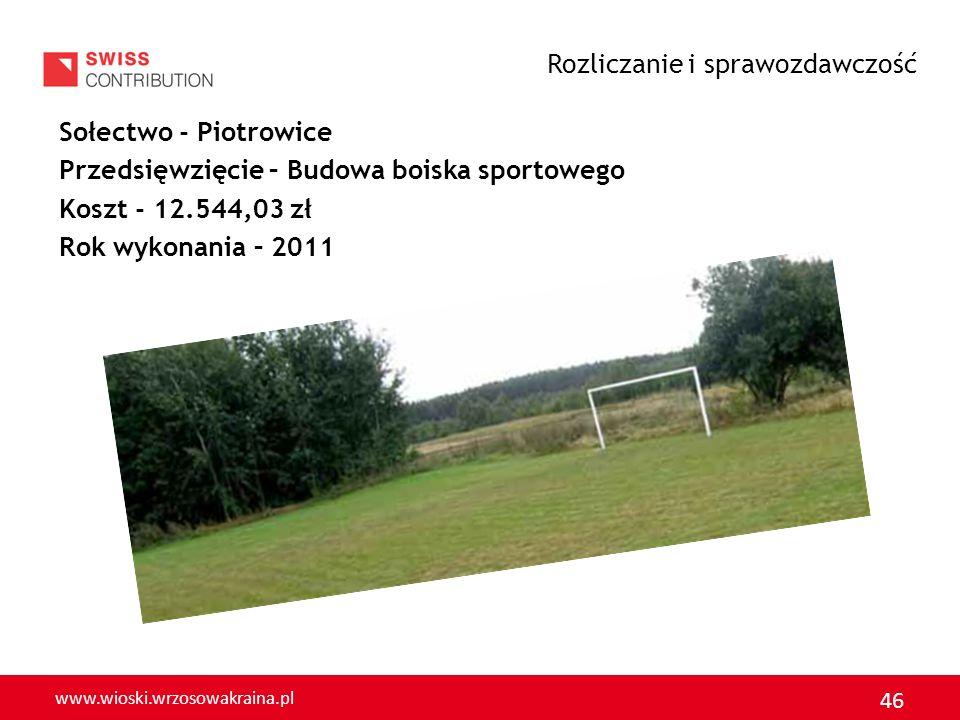 www.wioski.wrzosowakraina.pl 47 Sołectwo - Wilkocin Przedsięwzięcie – Modernizacja i wyposażenie kuchni świetlicy wiejskiej Koszt - 6.040,81 zł Rok wykonania – 2011 Rozliczanie i sprawozdawczość
