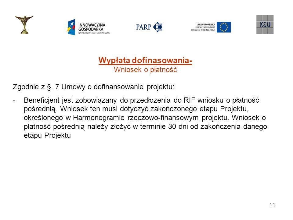 12 Wypłata dofinasowania- Wniosek o płatność Zgodnie z §.