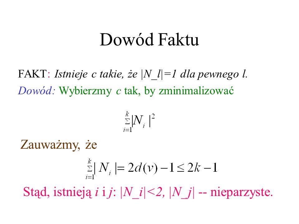 Dowód Faktu FAKT: Istnieje c takie, że |N_l|=1 dla pewnego l.