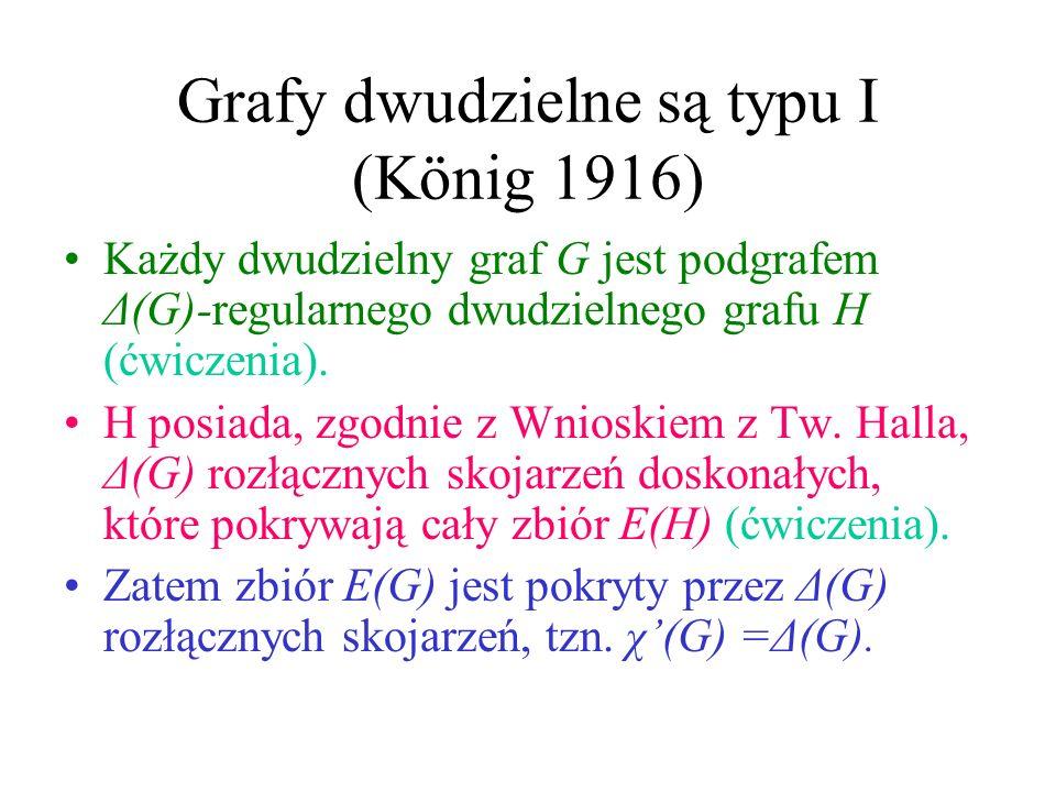 Grafy dwudzielne są typu I (König 1916) Każdy dwudzielny graf G jest podgrafem Δ(G)-regularnego dwudzielnego grafu H (ćwiczenia).